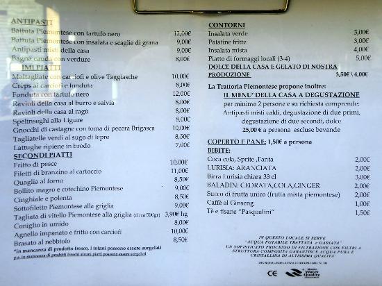 Calice Ligure, Italy: Il menu esposto all'esterno