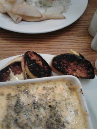 Lancaster, UK : Lasagne with very burnt garlic bread