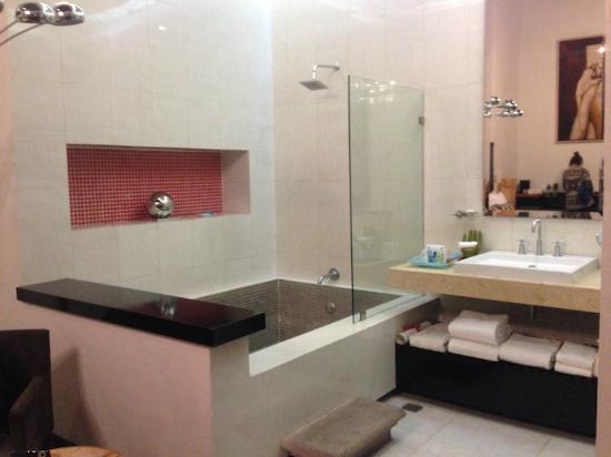 Foto de cantera diez hotel boutique morelia regadera y for Tina para regadera