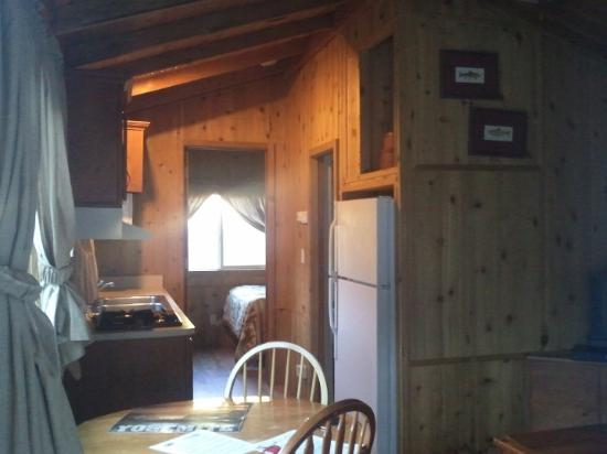 Cabin by river - from front door, looking at dining table and ...