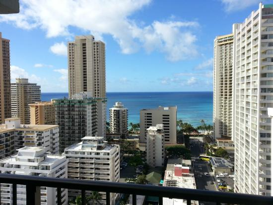 Unipack at the Waikiki Park Heights: View from the balcony of condo 2203