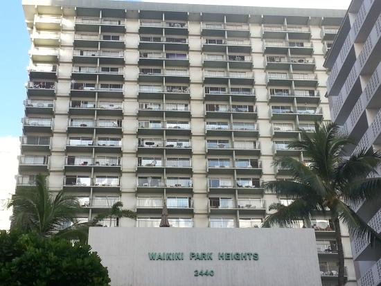 Unipack at the Waikiki Park Heights: View of our balcony, condo 2203, very top (white table visible)