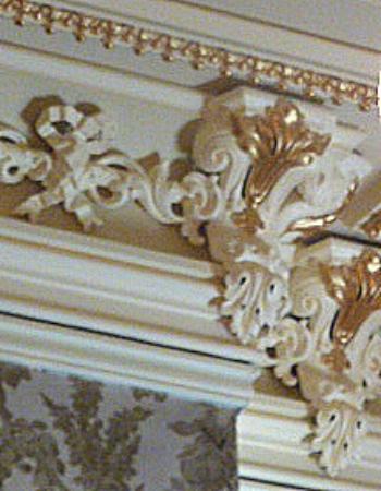 John Harris-Simon Cameron Mansion: Exuberant Victorian ceiling trim in the Parlor.