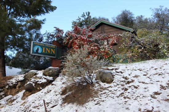 Three Rivers, CA: Winter snow at the Sequoia Village Inn