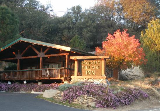Three Rivers, CA: Entrance to Sequoia Village and Alta and Aspen Cabins with huge covered deck