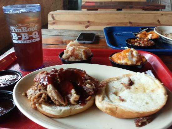 Tin Roof B-B-Q: Pulled pork, honey chipotle sauce, sweet potatoes, peach cobbler, sweet tea
