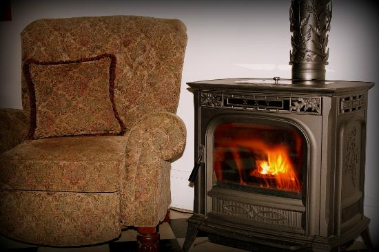 Mineral Point Hotel: Our lobby provides a cozy stove and furniture to relax and drink coffee!