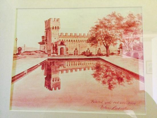 Castello delle Serre: Painting of the castello made with wine