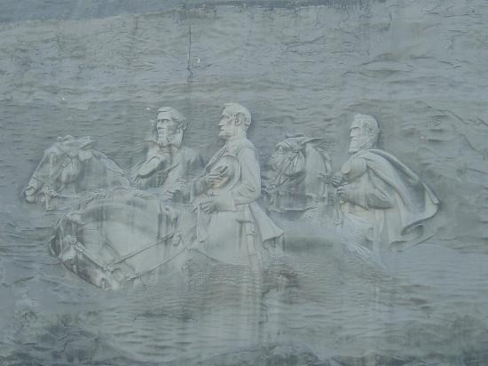 From a distance picture of stone mountain carving