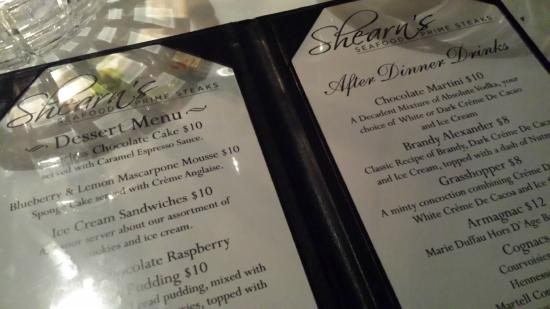 Shearn's Seafood and Prime Steaks: dessert menu