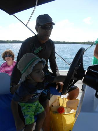 Salty Tours Tobago: Helping Nigel drive the boat