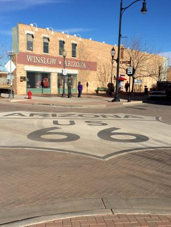Dar's  Route 66 Diner: Standing on the corner, in Winslow AZ ( across from Dar's Route 66 Diner).