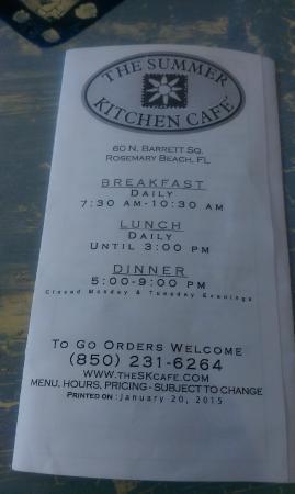 summer kitchen restaurant cafe menu - Summer Kitchen Menu
