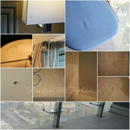 The Cosmopolitan of Las Vegas, Autograph Collection: Carpets need deep cleaning and care.  Peeling wallpaper, cracked lamp shade, uncovered fire alar