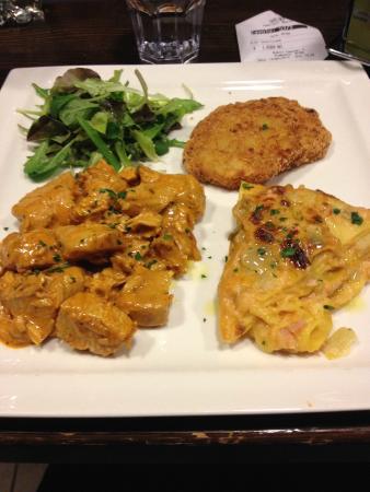 Officina Gambrinus: bocconcini di pollo, rosti di patate, insalatina e lasagnetta