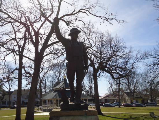 Doughboy Monument at DeBardeleben Park: Statue up close