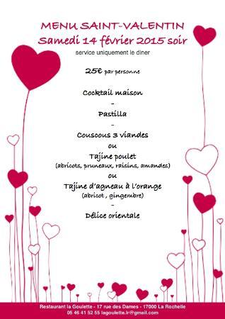 Menu Saint Valentin Restaurant La Rochelle