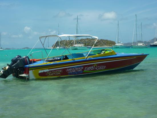 Simply Carriacou Island Tours: The 30ft locally made speedboat used for our tours to Tobago Cays