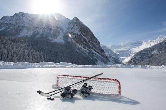 Pond Hockey On Lake Louise Jpg