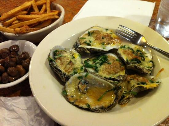 Jewell's on Main: Spinach Parmesan Roasted Oysters on the half Shell. Amazing!