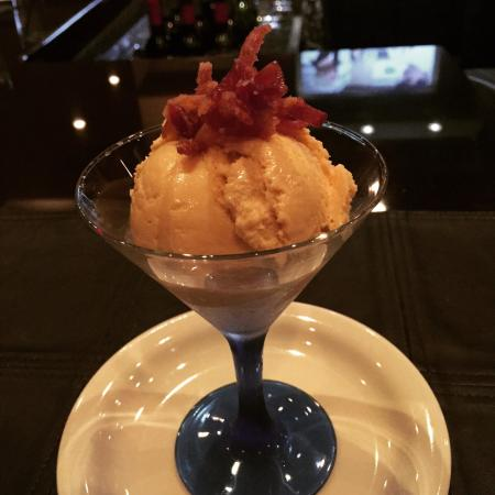 Blackstone Grill: Caramel ice cream with candied bacon! Seriously??!!! Oh yeah...it was incredible!!!