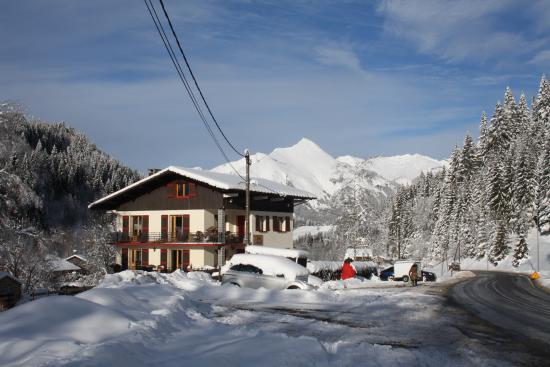 Chalet Bluebell Les Gets : View of the chalet on approach from village