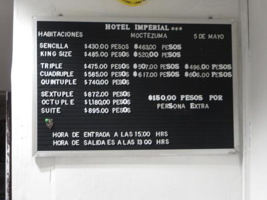 Hotel Imperial: Prices