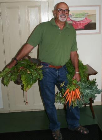 Deer Isle, ME: Farmer Scott delivering vegetables