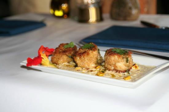 """Deer Isle, ME: Our crab cakes made with local """"peekytoe"""" crab"""