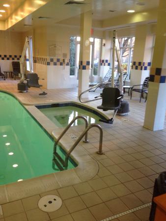 Indoor pool jacuzzi and handicap assist equipment for Richmond gardens pool