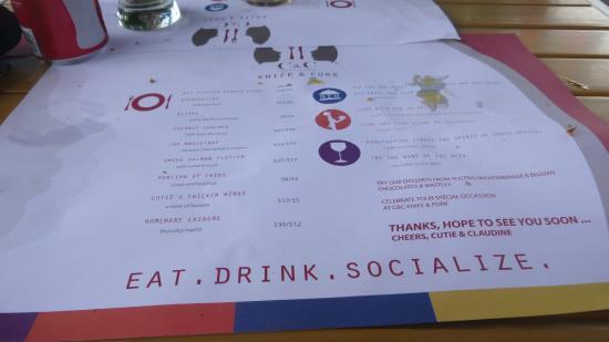 C&C Wine Bar: The menu