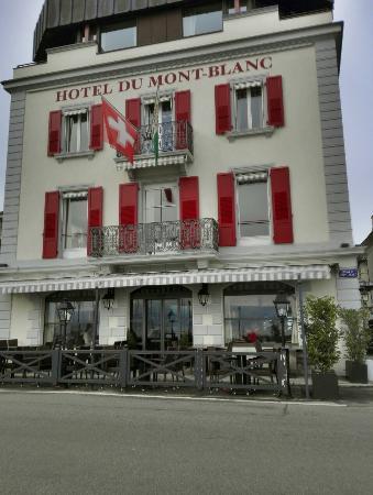 Terrace at Romantik Hotel Mont-Blanc Au Lac : Vue extérieure