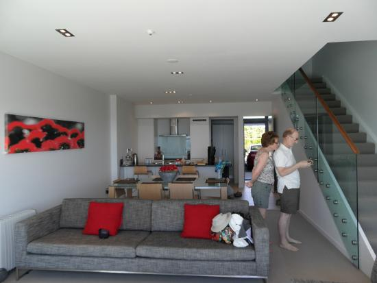 Doubtless Bay Villas: Wonderful living, dining and kitchen area downstairs