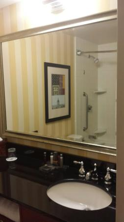 Atlanta Marriott Peachtree Corners: Bathroom with more ugly stripes!
