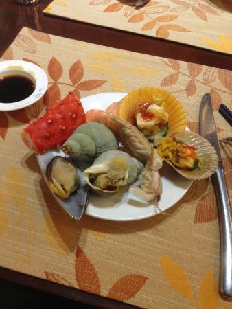 Yindu Hotel: Ужин из морепродуктов.