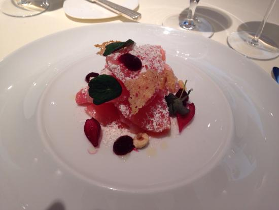 Vegetarian starter of beetroot and goats cheese picture for French starters vegetarian