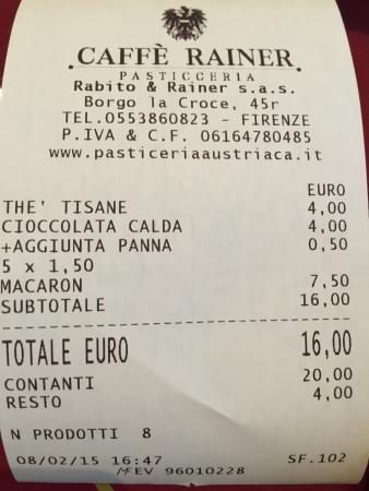 Caffe Rainer Borgo la Croce: Scontrino