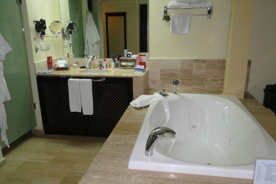 Salle de bain avec baignoire à bulles et douche - Photo de Grand ...