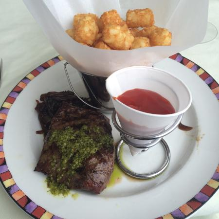 Top Of The Hub Steak With Chimichurri And Tater Tots From Three Course Meal