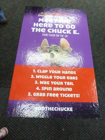 Chuck e cheese 39 s do the chuck e sign on the floor for Chuck s hardwood flooring