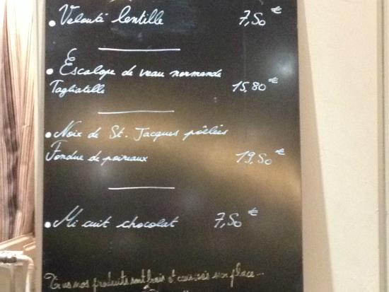 Café Juliette : specials of the day