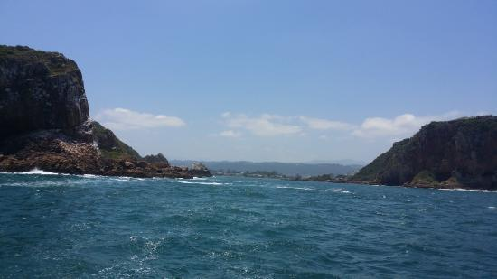Heads Explorer Catamaran Day Cruises: View from the open sea back through the Heads