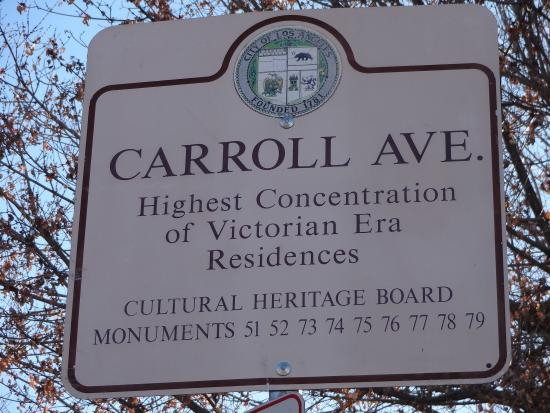 Angelino Heights Historic Area Carroll Avenue Information Sign