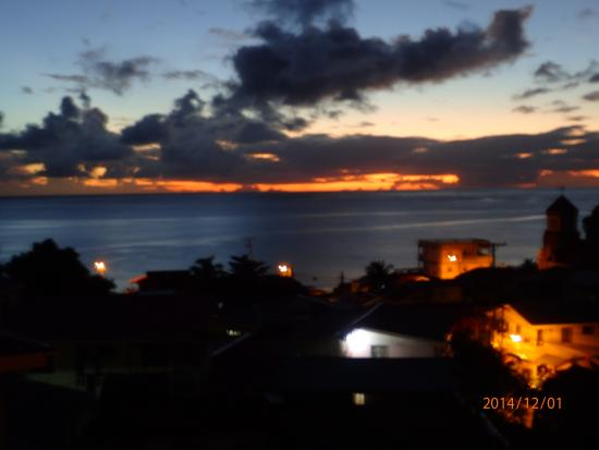 Nature Island Dive Resort: View of town (Soufriere) from roof of apartment