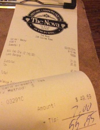The Nova Restaurant & Wine Bar: I tipped the minimum, but still tipped...  A bit much for small, overcooked meat.
