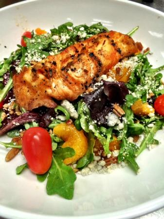 Harvey's: Salmon & Arugula Salad with Apple-Soy Vinaigrette