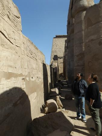Discover Luxor : Owees talking us through the scenes and hieroglyphs on this wall.