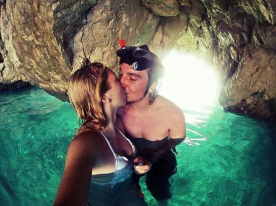 ‪‪Marathonisi (Turtle Island)‬: Me and my fiance in a cave at marathonisi, magical.‬