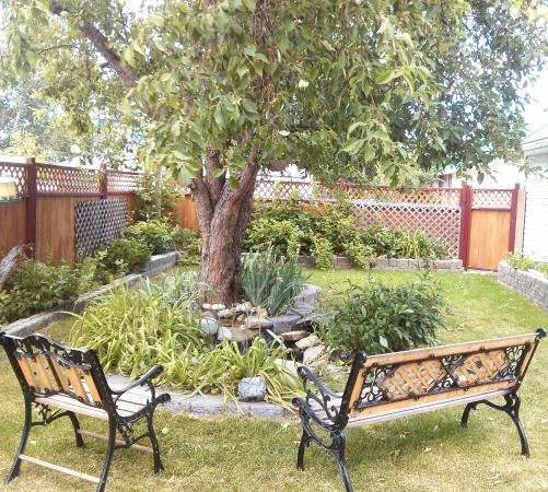 Granum, Kanada: Back garden with pond
