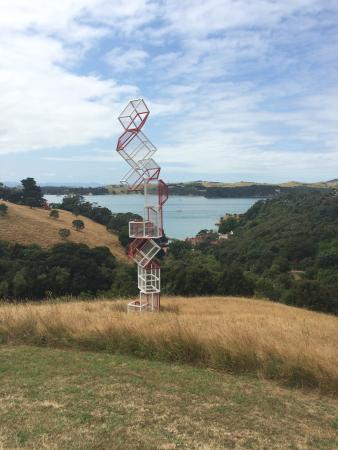 Connells Bay Sculpture Park: Just one of the many beautiful sculptures with the incredible Connells Bay in the background.